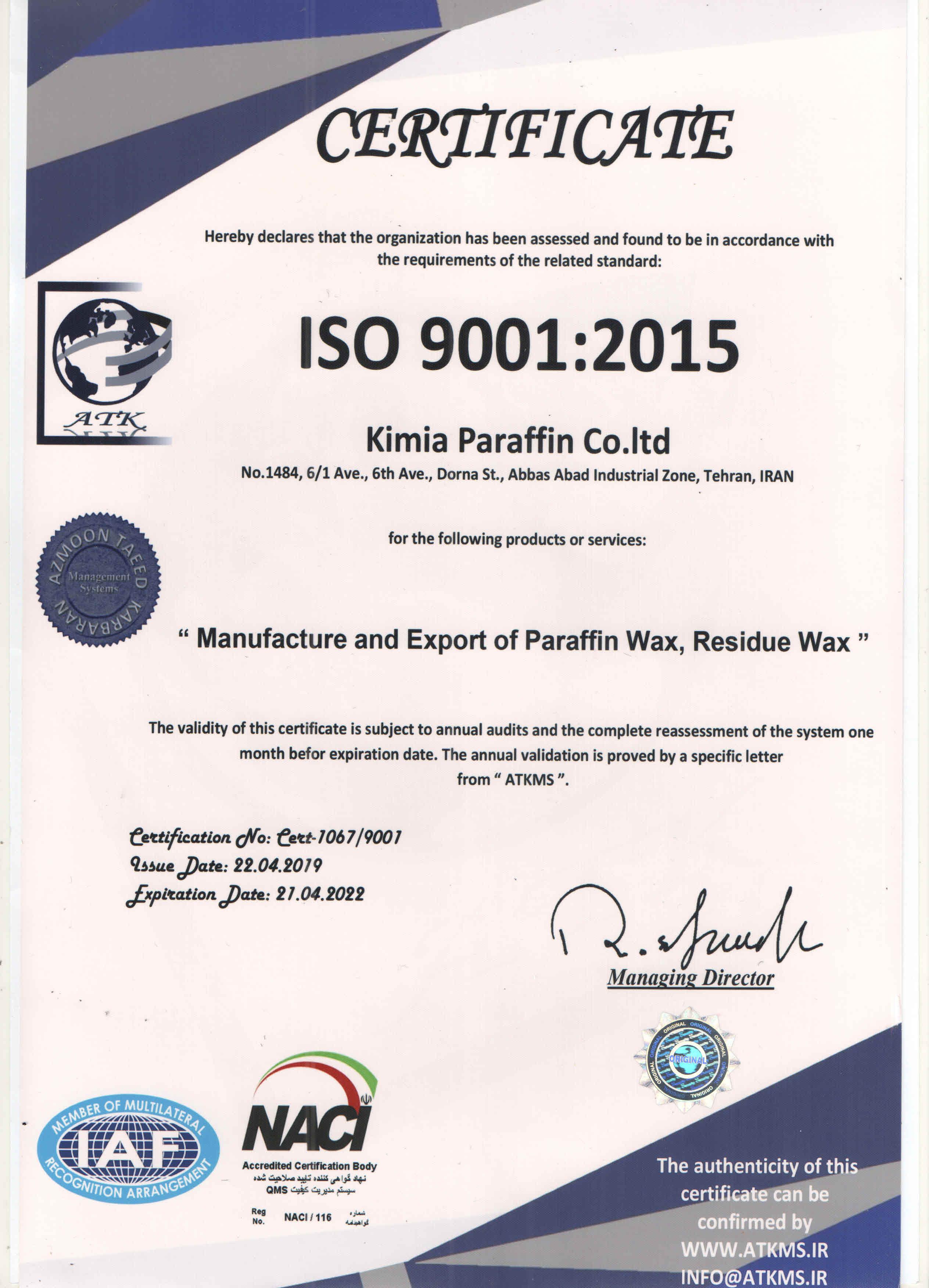 9001-2015 NACI